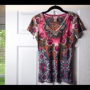 Floral Pink Sheer V-neck T-shirt Nature Juniors M